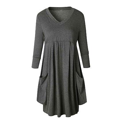 Korowa Vestido largo plisado de color puro de las mujeres de la manga floja del oscilación