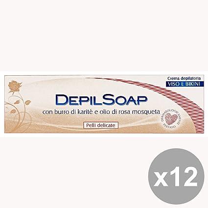 Conjunto de 12 Piel DEPILSOAP crema para la cara del bikini-Delicado 75 Ml.