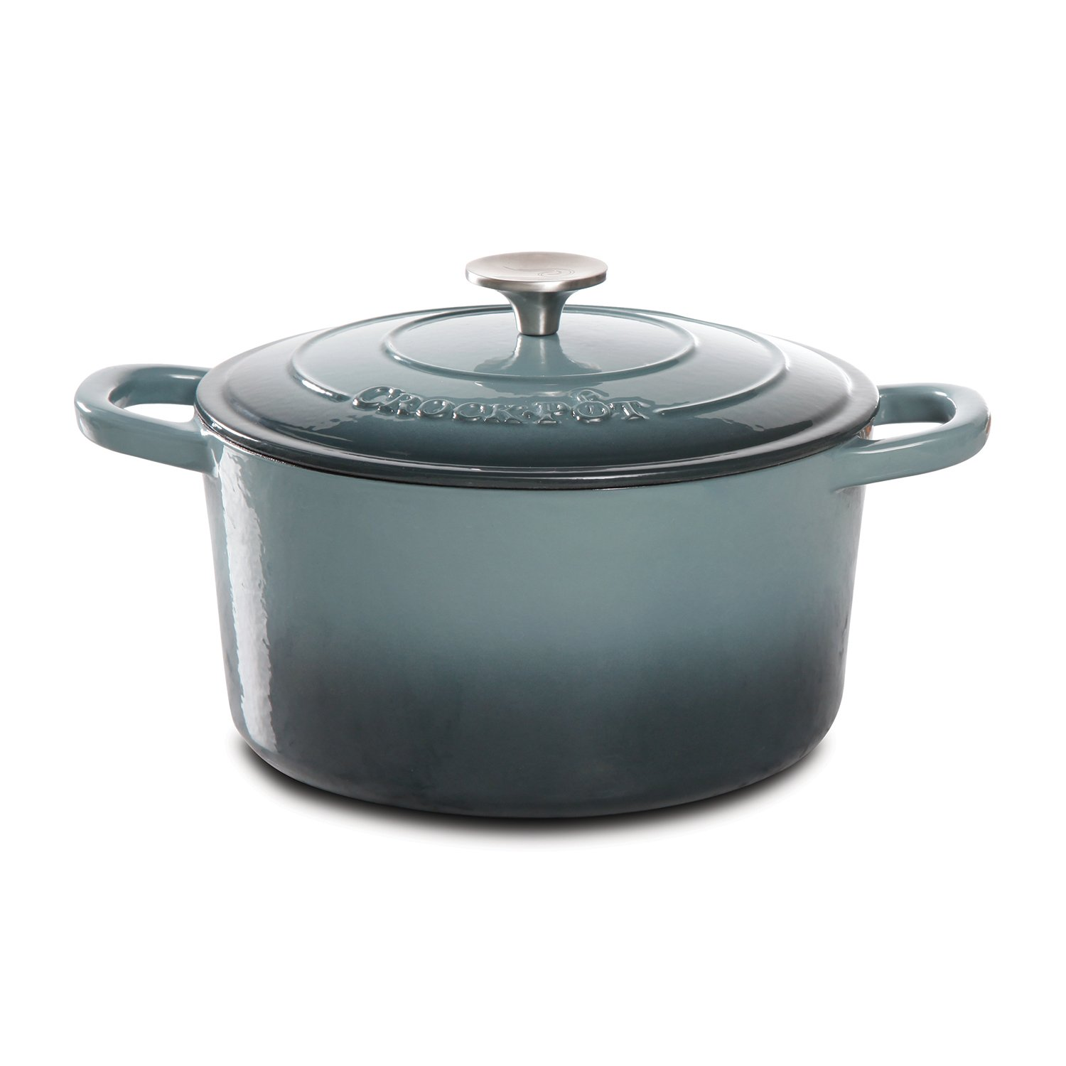 Crock Pot 69140.02 Artisan 5 Quart Enameled Cast Iron Round Dutch Oven, Slate Gray