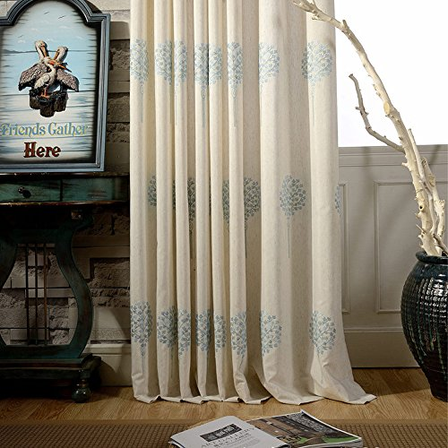 Blackout Curtains Cotton Linen Embroidered – Anady Top Grommet 2 Panel Light Blue Flower Curtains Drapes for Bedroom 72 inch Wide (Customized Available) Review