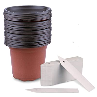 """KINGLAKE 50 Pcs 4"""" Plastic Plants Nursery Pot/Pots with 100 Pcs Plant Labels Seedlings Flower Plant Container Seed Starting Pots with Garden Tags: Garden & Outdoor"""