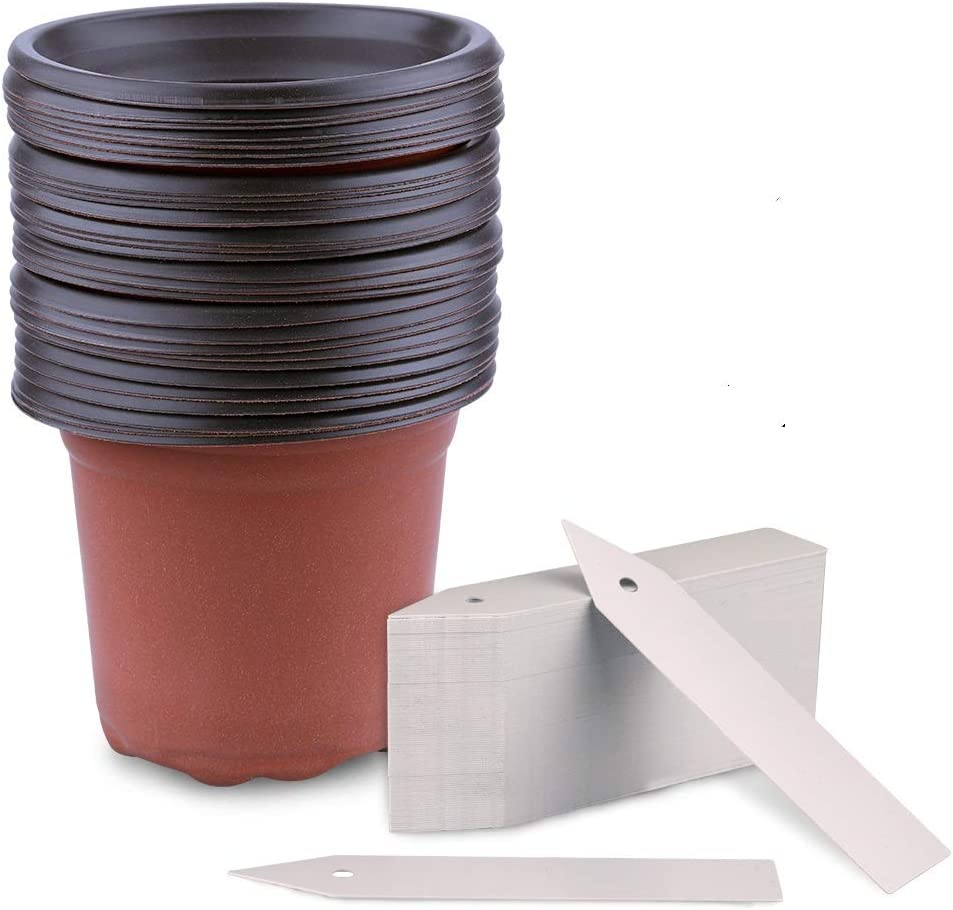 KINGLAKE 50 Pcs 4 Plastic Plants Nursery Pot//Pots Seedlings Flower Plant Container Seed Starting Pots with Plant Labels