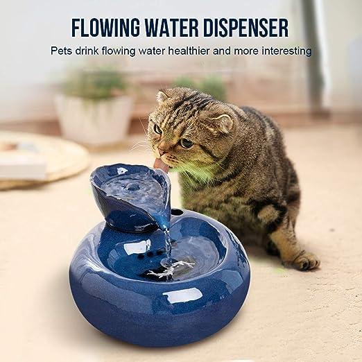 IMDOU - Fuente de agua para gatos, dispensador de agua de cerámica para mascotas, filtro multicapa, ultrasilencioso, agua de circulación automática sanitaria, 1,5 L, hace que los gatitos sean más como: Amazon.es: