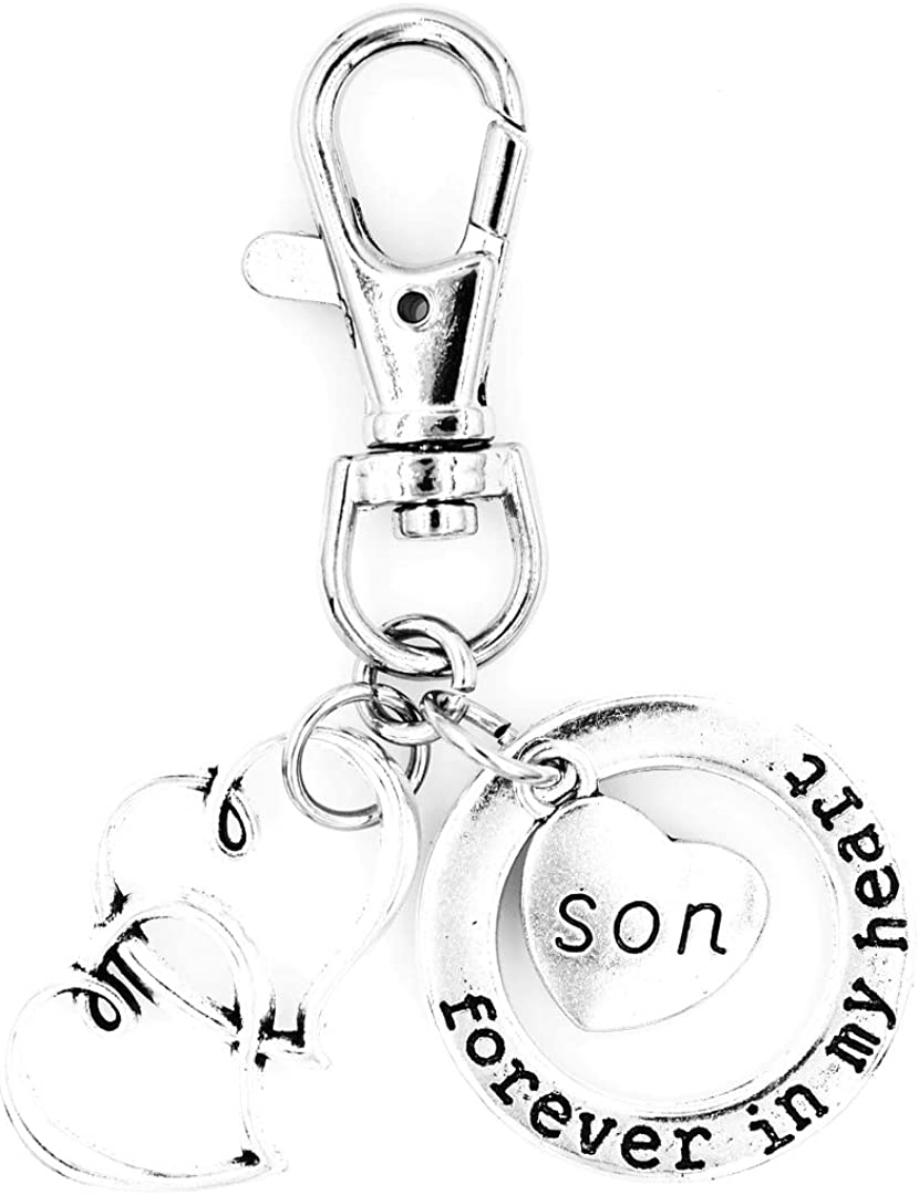 Forever in My Heart Double Hearts Swivel Clasp Clip on Charm Family Names Its All About...You 14 Options