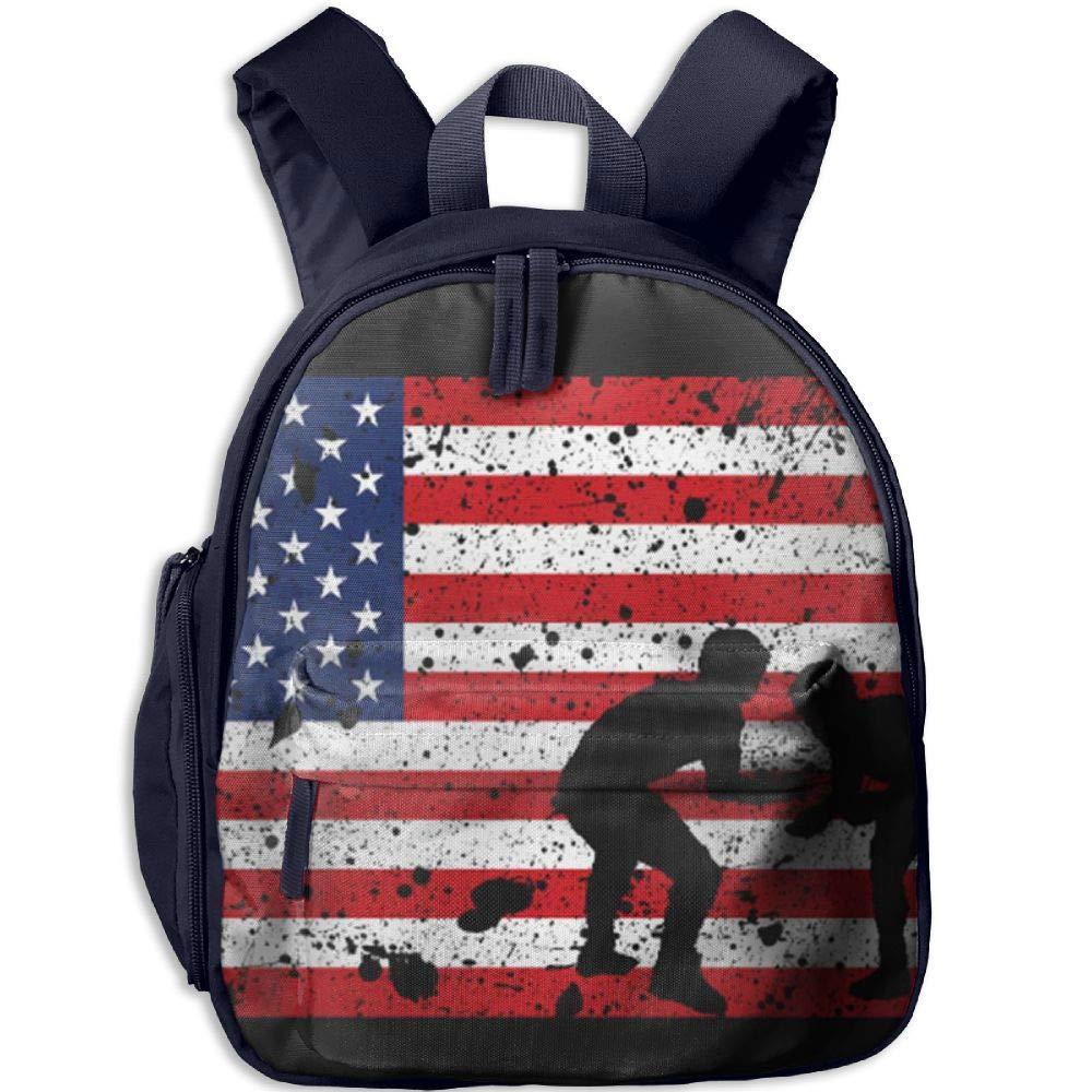 Kids Grunge American Flag Wrestling Funny School BookBags Backpack For Child