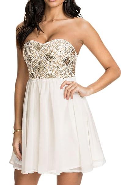 d776a872d50 Amazon.com  made2envy Sequin Flower Bandeau Chiffon Skater Dress (M ...
