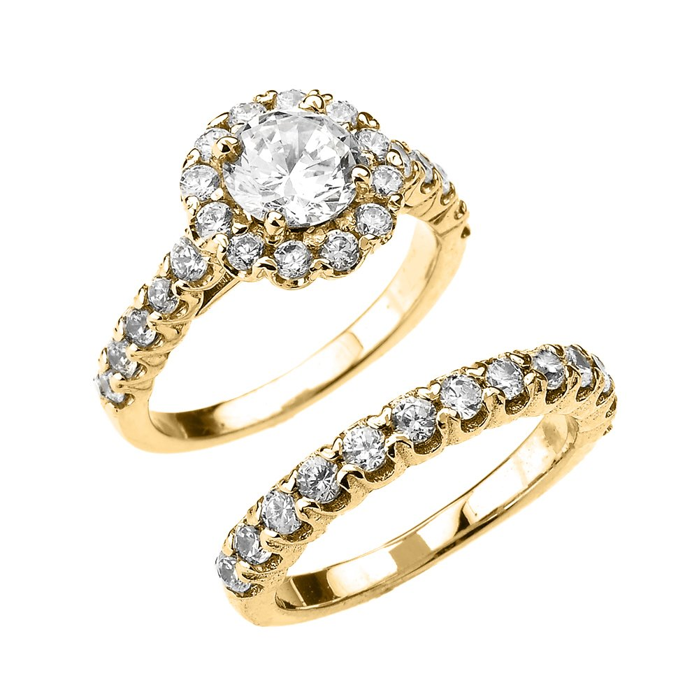 10k Yellow Gold 4 Carat total Weight Halo CZ Engagement Wedding Ring Set (Size 6.75)