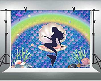 Zhy 7X5FT Golden Purple Little Mermaid Backdrop for Girls Birthday Sparkle Scales Pearl Underwater World Party Banner Princess Bday Photography Background GGE024