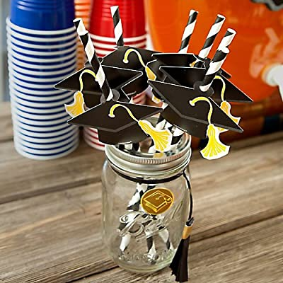 Graduation Straws with Grad Caps | Party Favor | Pack of 12: Toys & Games