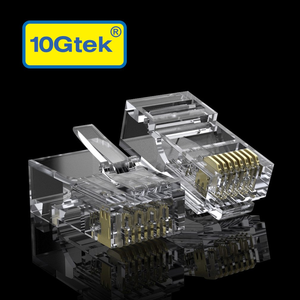 CAT6 RJ-45 UTP Connectors, RJ-45 Modular Plugs with Flexible Latch, 100-Pack by 10Gtek