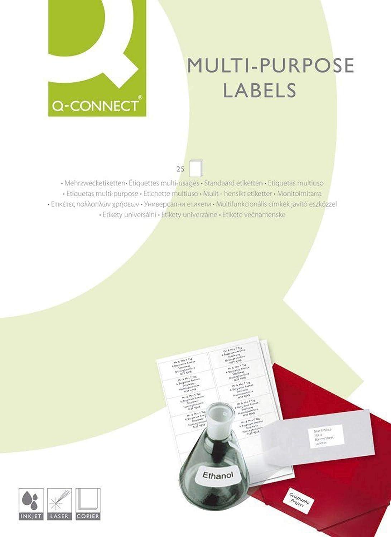 Q-Connect Etiqueta Adhesiva KF10664 Tamaño 210X297 Mm Fotocopiadora Láser Ink-Jet Caja Con 100 Hojas Din A4: Amazon.es: Oficina y papelería