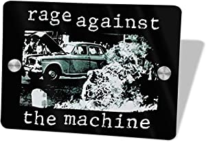 Adsfghrehr Rage Against The Machine Door Sign 5.57.5 in Art Door Sign Personalized Wall Plaque Home Office Cafe Shop Home Decorations Metal Door Sign Children Room Decoration