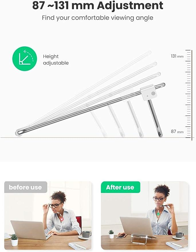 Lenovo Thinkpad MacBook Air Asus ZenBook Dell XPS 13 15 UGREEN Laptop Stand Foldable Adjustable Desk Laptop Riser Metal Laptop Holder Compatible for 11 to 16 Inch MacBook Pro
