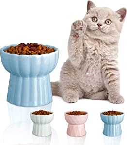 Jemirry Raised Cat Bowls, Elevated Ceramic Cat Dish Food Bowl Pet Feeder for Kitty Eating Stress Free - Blue