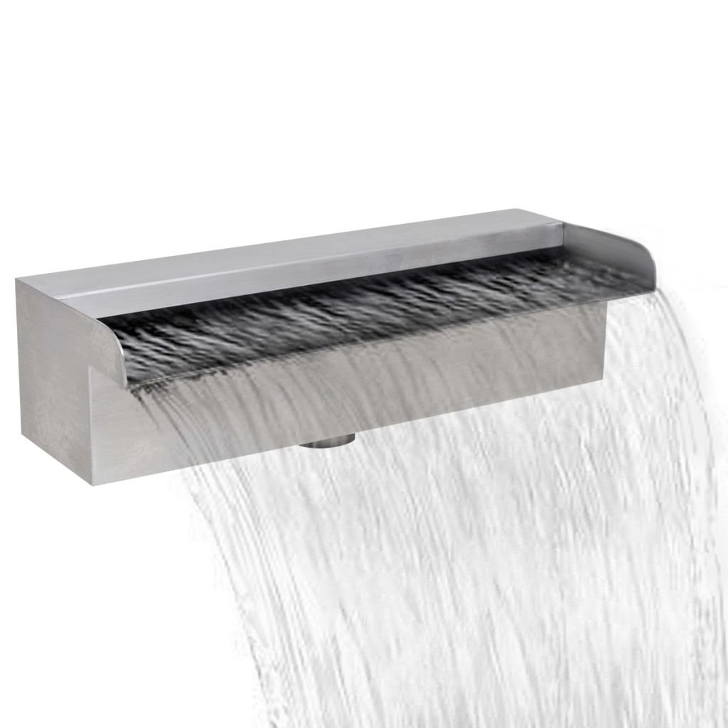Chloe Rossetti Waterfall Pool Fountain Rectangular Stainless Steel garden waterfall with 11.8'' Connector length: 0.87''