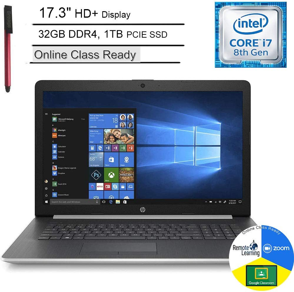 "HP 17 17.3"" HD+ Laptop Computer_ Intel Quad-Core i7 8565U up to 4.6GHz_ 32GB DDR4 RAM_ 1TB PCIe SSD_ DVDRW_ Webcam_ Microphone_ Online Class Ready_ HDMI_ Silver_ Windows 10_ BROAGE 64GB Flash Drive"