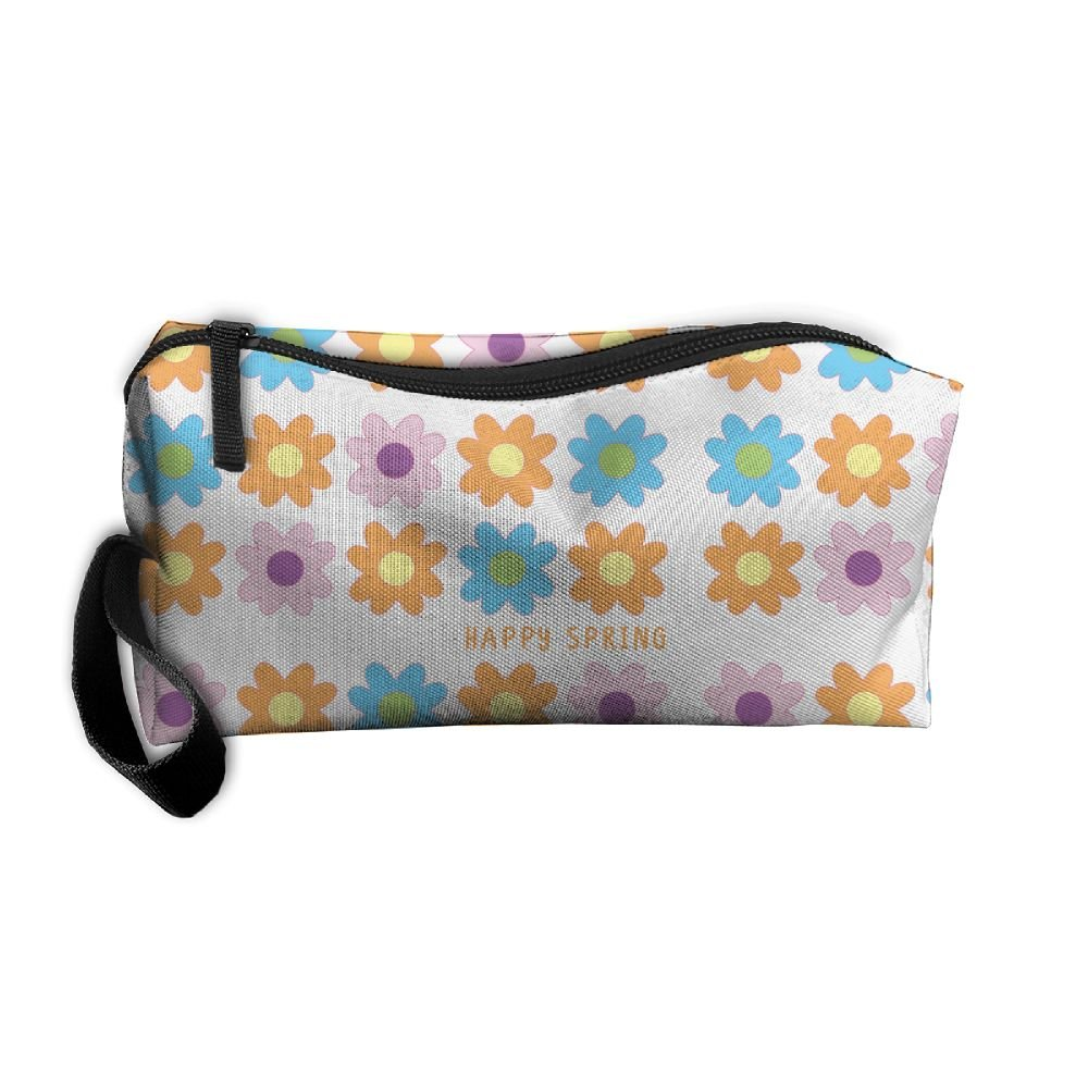 free shipping Happy Spring Flowers Pattern Makeup Bag Printing Girl Women  Travel Portable Cosmetic Bag Sewing b8fac32c6d