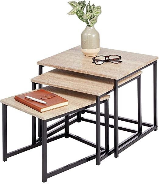 Amazon Com Mdesign Modern Farmhouse Nesting Side End Table Metal Wood Design Sturdy Vintage Rustic Industrial Home Decor Accent Furniture For Living Room Bedroom Set Of 3 Natural Black Home Kitchen