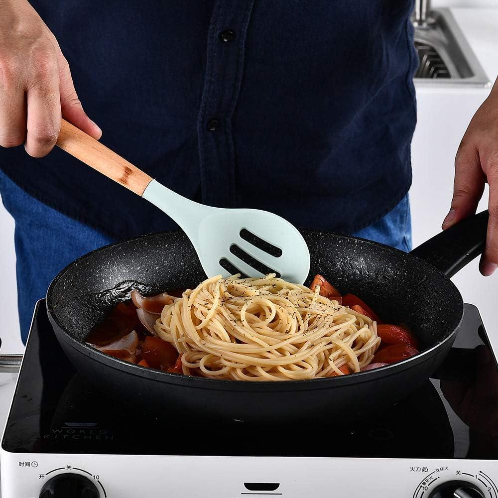 utensilios de cocina Pinza pa Batidor Juego de utensilios de cocina de silicona con asas de madera y soporte Esp/átula Cuchara 12 Piezas Resistente al calor y Antiadherente Utensilios Cocina de