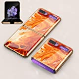 Extra Thinness Case for Samsung Galaxy Z Flip Folding Screen, PC + 9H Tempered Glass Cover all-Inclusive Anti-Fall limited Edition Shockproof Protective Case for Galaxy Z Flip-Agate red