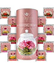 Teabloom Heart Shaped Flowering Tea – 12 Assorted Blooming Tea Flowers – Green Tea + Jasmine, Pomegranate, Strawberry, Rose, Litchi & Peach – Gift For Tea Lover's Anniversary, Valentine, Birthday