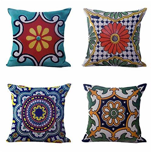 WholesaleSarong Set of 4 Cushion Covers Mexican Spanish Talavera Decor Pillow Covers from WholesaleSarong