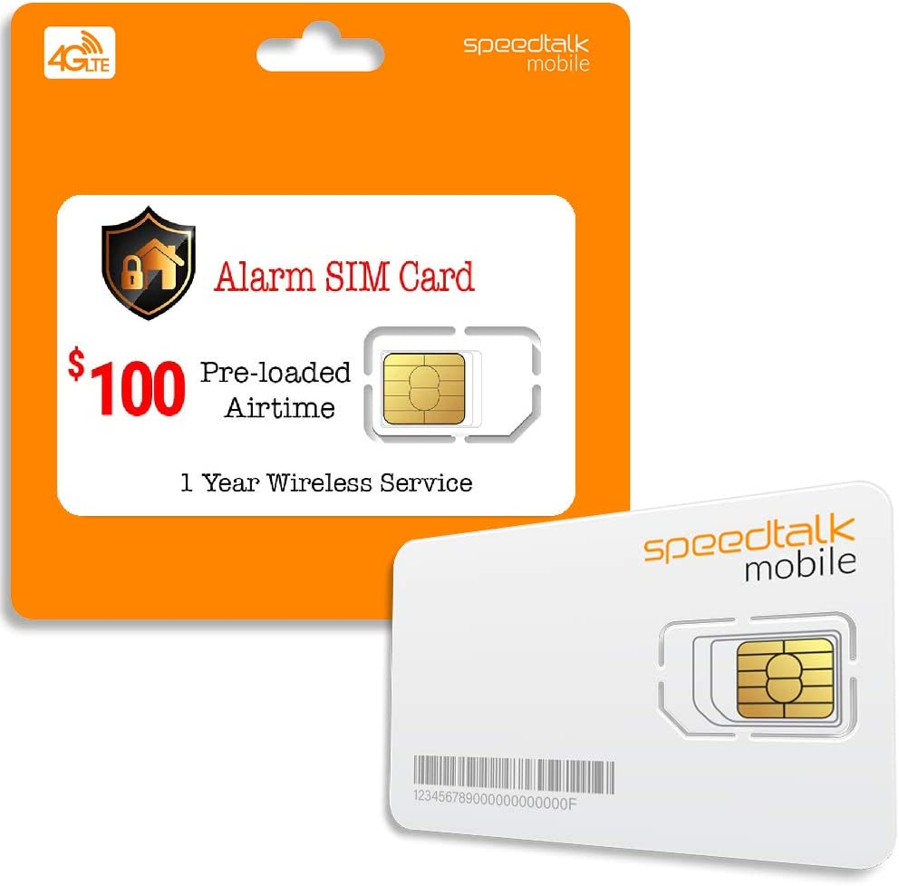 Prepaid Alarm SIM Card for GSM Home/Busines Security Alarm System - Unlimited Text - No Contract- 1 Year Wireless Service