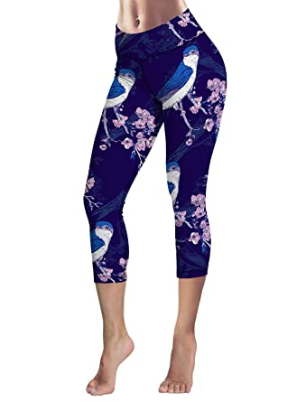 7f68748e937ec4 Capri Tights Running Workout Leggings Cropped Pants Birds on Plum ...