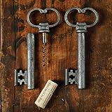 HomArt Skeleton Key Bottle Opener and Cork Pull Antique Silver