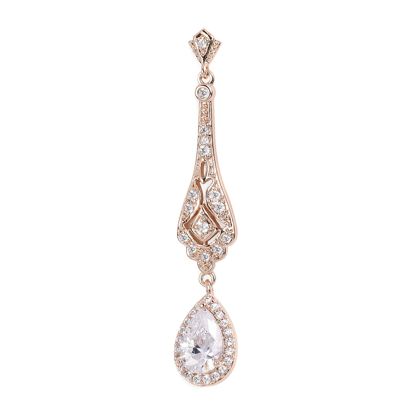 SWEETV Slender Teardrop Cubic Zirconia Vintage Dangle Earrings Rose Gold-Bridal Wedding Style Jewelry for Women Brides,Bridesmaids by SWEETV (Image #3)