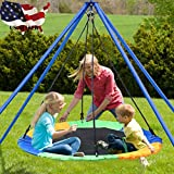 40 Inch Flying Tree Swing for Kids - Round Indoor Outdoor Giant Swingset Toys - 660 Pounds Sensory Tire Swings - 2 Tree Straps, 2 Carabiners, 1 Swivel - Adjustable Length Waterproof Swings Set