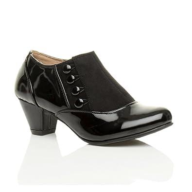 Womens ladies low mid heel buttons zip smart work ankle shoe boots booties