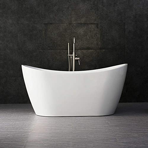 WOODBRIDGE BTA-1516 Acrylic Freestanding Bathtub Contemporary Soaking Tub with Brushed Nickel Overflow and Drain, BTA1516, 59 B-0016 White