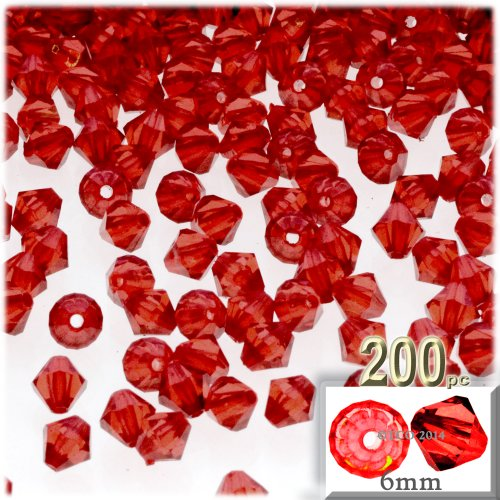 The Crafts Outlet, 200-pc Acrylic Bicone Beads, Faceted, 6mm, Ruby Red