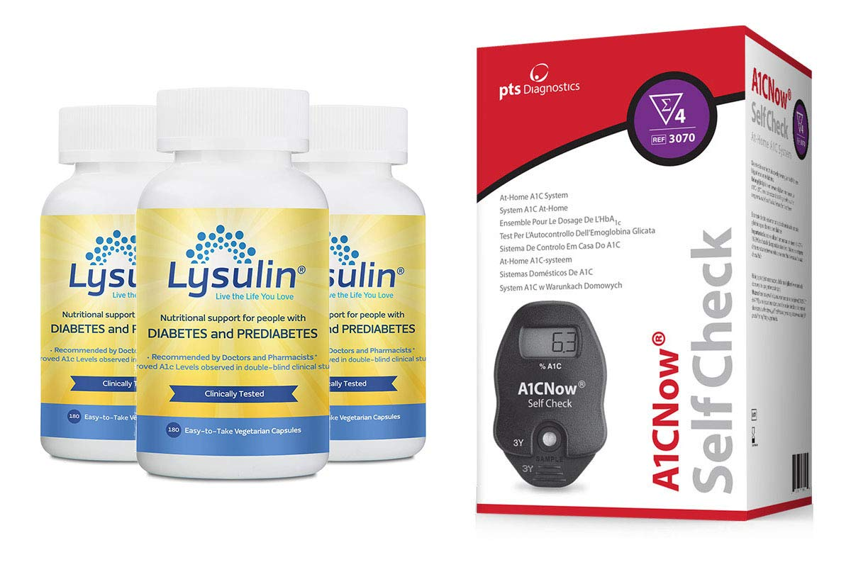 IntroPack Bundle | 3 Bottles Lysulin Soft Capsules + A1cNow Test Kit | Blood Sugar Support, PreDiabetes and Diabetes Support Supplement for Natural Blood Sugar Control by Lysulin