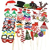 TinkSky 62pcs Christmas Photo Booth Props Funny DIY Favor Including Christmas Tree Glasses Santa Claus's reindeer...