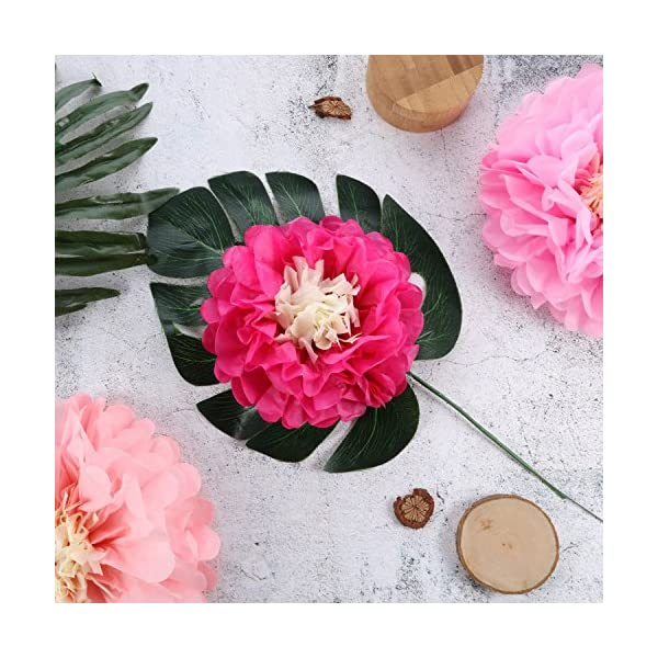 Gejoy 12 Pieces Paper Flower Tissue Paper Chrysanth Flowers DIY Crafting for Wedding Backdrop Nursery Wall Decoration (Pink, Light Pink, Prunosus)