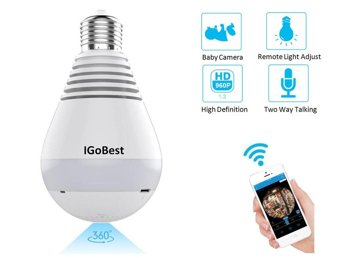 IGoBest 1080P/960P WiFi IP Panoramic Bulb Camera 360 Degrees Fisheye Lens for Wireless Home Security System Pet Monitor&Baby Camera,Two Way Talking,Motion Detection