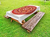 Lunarable Animal Outdoor Tablecloth, Round Pattern with Elephants Meditation Faith Ethnic Tribal Inspired, Decorative Washable Picnic Table Cloth, 58 X 104 inches, Ruby Orange Cream Apricot