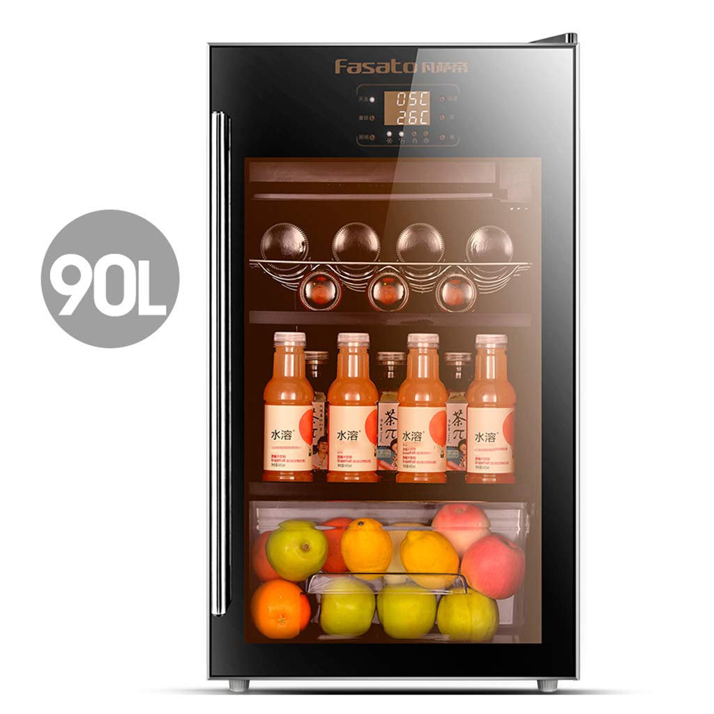 Lxn 90L Compressor Cooler - Red and White Wine Chiller - Countertop Wine Cellar - Freestanding Refrigerator with LCD Display Digital Touch Controls