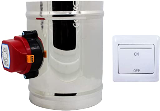 Motorized HVAC Damper 110V HVAC air Duct Damper Zone dampers Actuator Electric air Damper Register 80 100 125 150 200 250 300 350 400 mm (Outer Diameter 100mm)