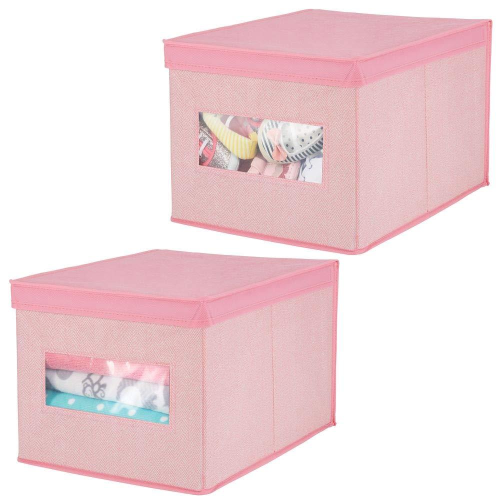 pink hochwertige Aufbewahrungsbox aus atmungsaktiver Kunstfaser ebenso als Kleiderschrank Organizer verwendbar mDesign 2er-Set Wickeltisch Organizer ideal f/ür Babyzubhe/ör