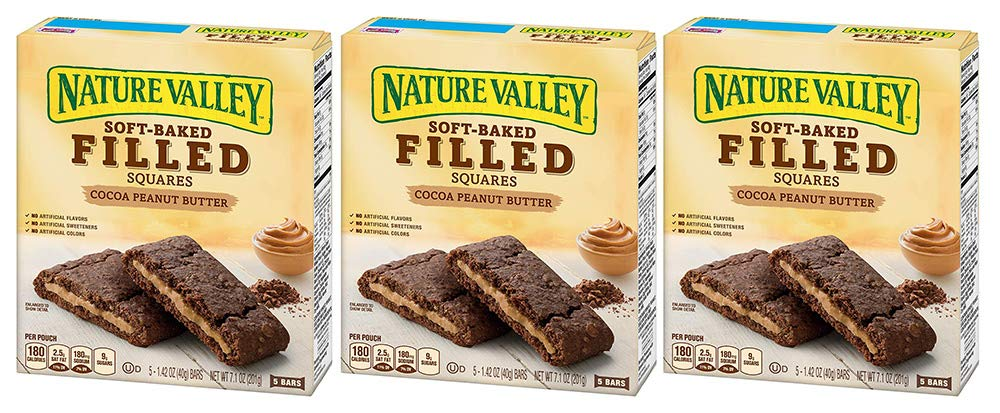 Nature Valley Soft Baked Filled Squares Cocoa Peanut Butter, 5 Bars (3 Boxes)