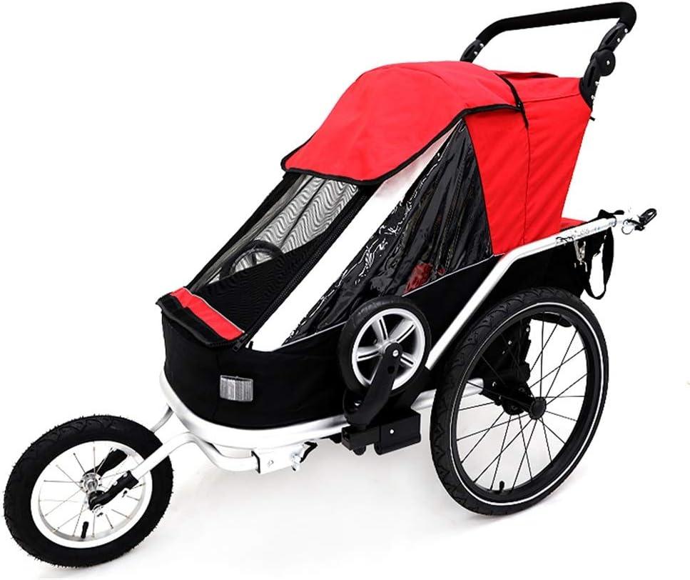 子供自転車トレーラー 子供の自転車トレーラーシングルトラック鉄道旅客折りたたみ自転車トレーラー5:00シートベルトや取り外し可能なキャノピー (色 : 赤, サイズ : Free size)