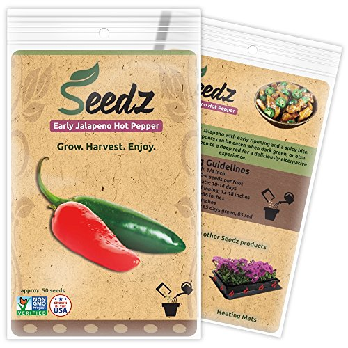 CERTIFIED ORGANIC SEEDS (Apr. 50) - Jalapeno Pepper Seeds - Heirloom Seeds - Non GMO, Non Hybrid Hot Pepper Seeds - USA