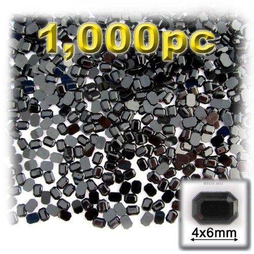 長方形の八角形Craftsコンセント1000-pieceアクリルアルミ箔フラットバックラインストーン、4by 6mm、ジェットブラックの商品画像