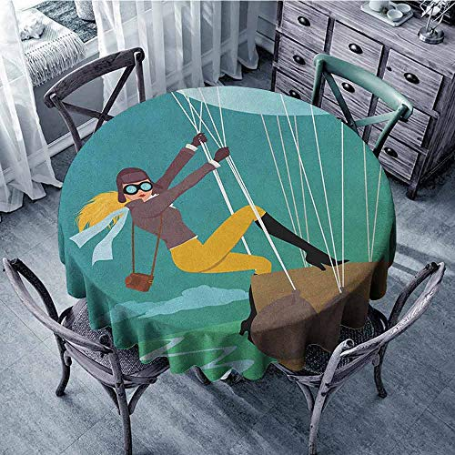 ScottDecor Camping Round Tablecloth Dinning Tabletop Decoration Explore,Vintage Cartoon Style Explorer Spy Woman Figure Adventurer on a Hot Air Balloon, Multicolor Diameter 36