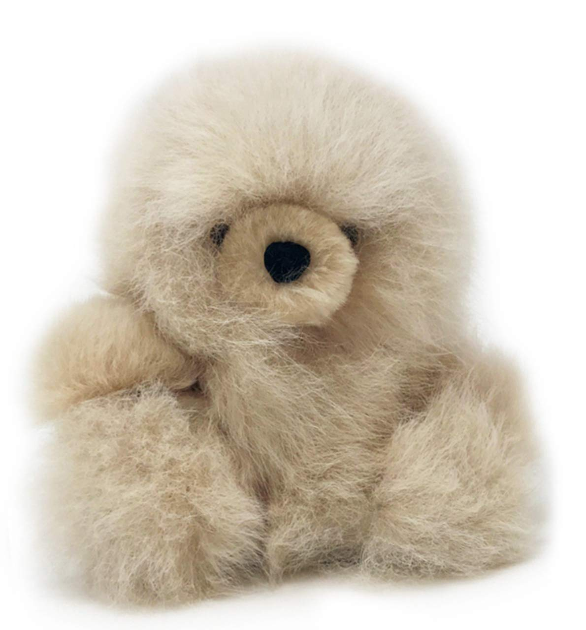 Baby Alpaca Fur Sitting Chubby Bear - Hand Made 5+ Inch Champagne - Each Bear is Unique by Inca Fashions