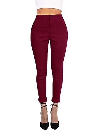 Women Slim Zipper Pencil Pants High Waist Long Trousers Pants Stretchy Leggings