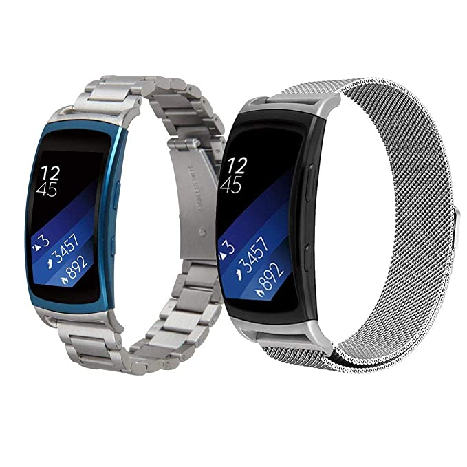 CAGOS for Gear Fit2 Bands Sets Women Men, 2 Pack Solid Stainless Steel Fit2 Band Metal Strap + Milanese Loop Mesh Replacement Wristbands for Samsung ...